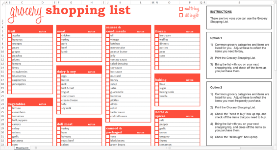 shopping list template 4.