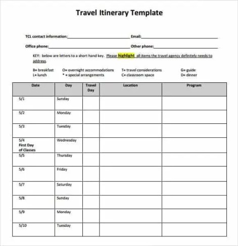 Travel itinerary templates find word templates for Blank trip itinerary template