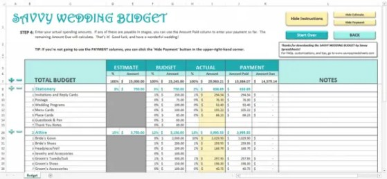 wedding budget spreadsheet 3.