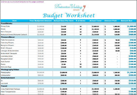 wedding budget spreadsheet 7.
