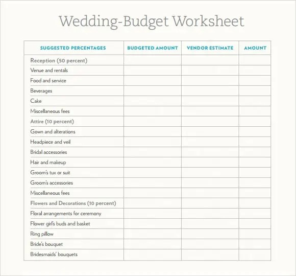 wedding budget spreadsheet 9.