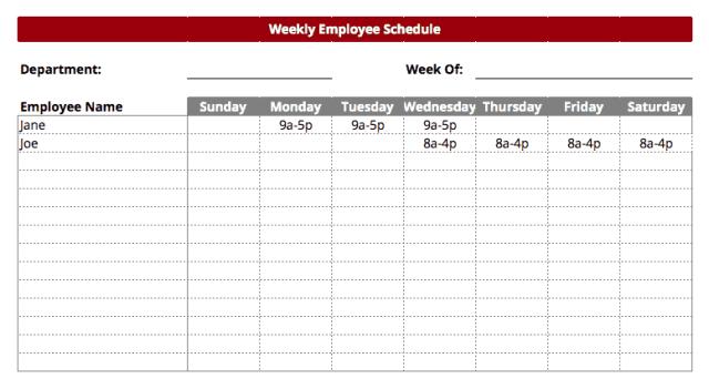 work schedule template 5.