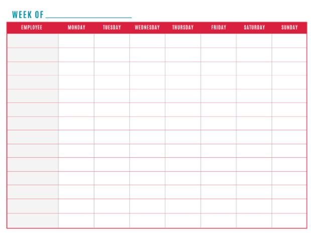 work schedule template 6.