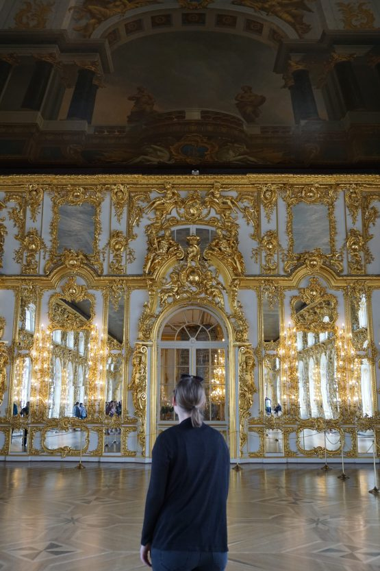 The gold plated ballroom inside Catherine Palace