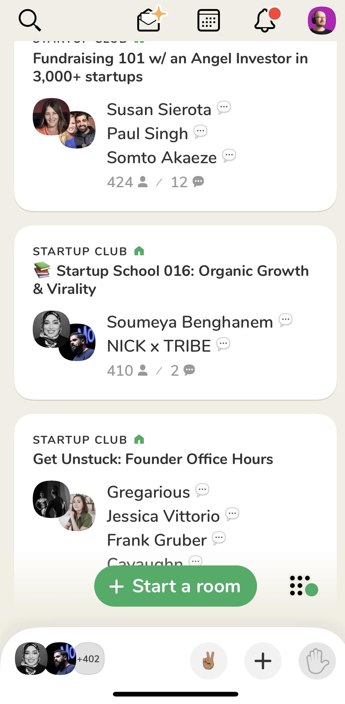 Screenshot Clubhouse App Startseite