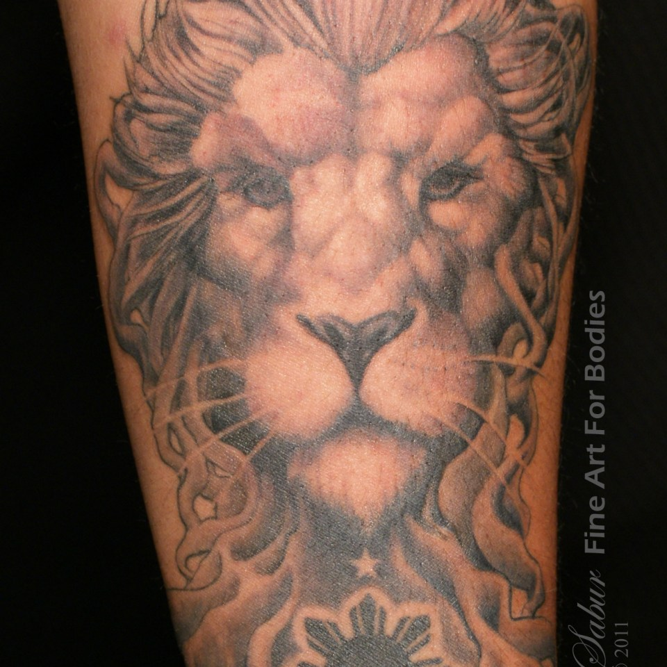 Fillipino Phillipino Mangrove Lion flag eight point star tattoo sleeve Tempe Tattoo Artist Tariq Sabur Fine Art For Bodies Studio 6
