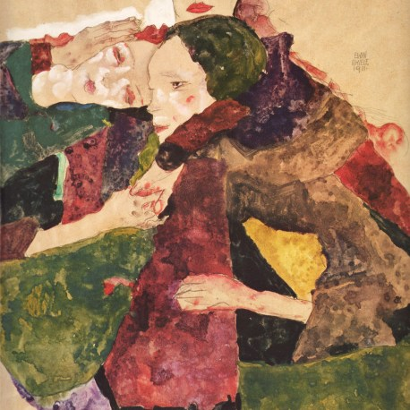Schiele_17_group_of_three_girls_1911