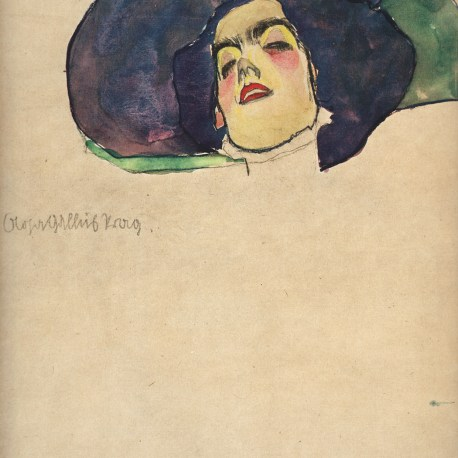 Schiele_1_Woman's_Head_with_wide_brimmed_hat