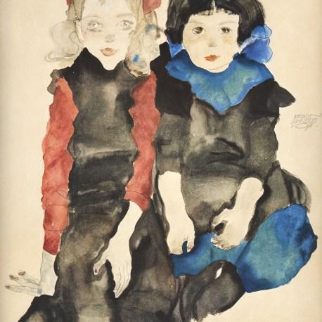 Schiele_20_two_little_girls_1911