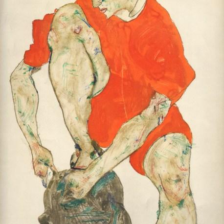 Schiele_38_female_model_in_a_fflame_coloured_dress_1914