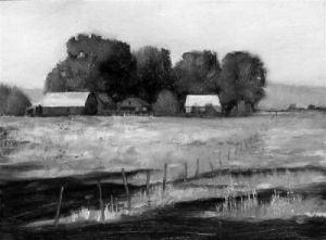 red barn painting, idaho
