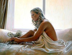 draped naked blond woman