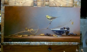 oil painting on easel