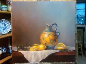 italian pitcher with lemons country lemonade