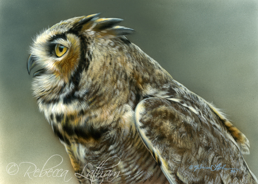 great horned owl oil painting