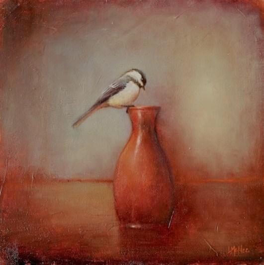 """©2013 LMcNee """"Red Sake Bottle & Chickadee"""" 12x12 oil/linen"""