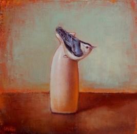 """©2013 LMcNee """"Sake Bottle & Nuthatch"""" 12x12 oil/linen"""