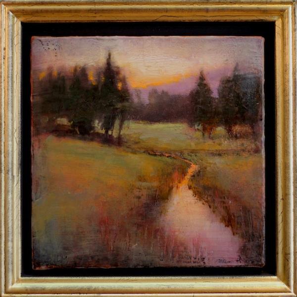 """©2013 LMcNee """"Summer Meadow"""" 8x8 encaustic/oil"""