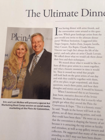 Lori with Eric Rhoads at Plein Air Magazine's 2014 Plein Air Convention