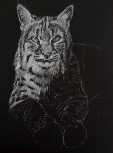 Charcoal Drawing Using The Grid Method