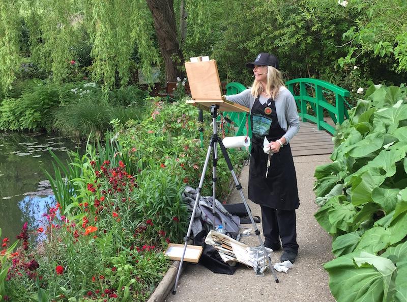 Lori at Monet's pond