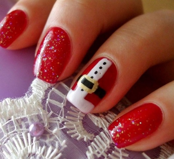 Sparkly Red Christmas Nails With Santa Feature