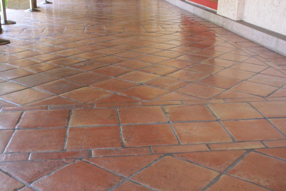 saltillo floor tile in a diagonal