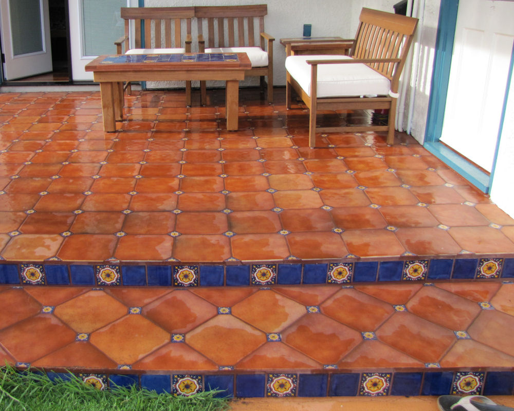 mexican floor tile combined with