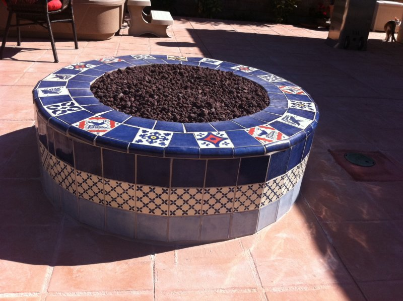 closeup outdoors mexican tile in a