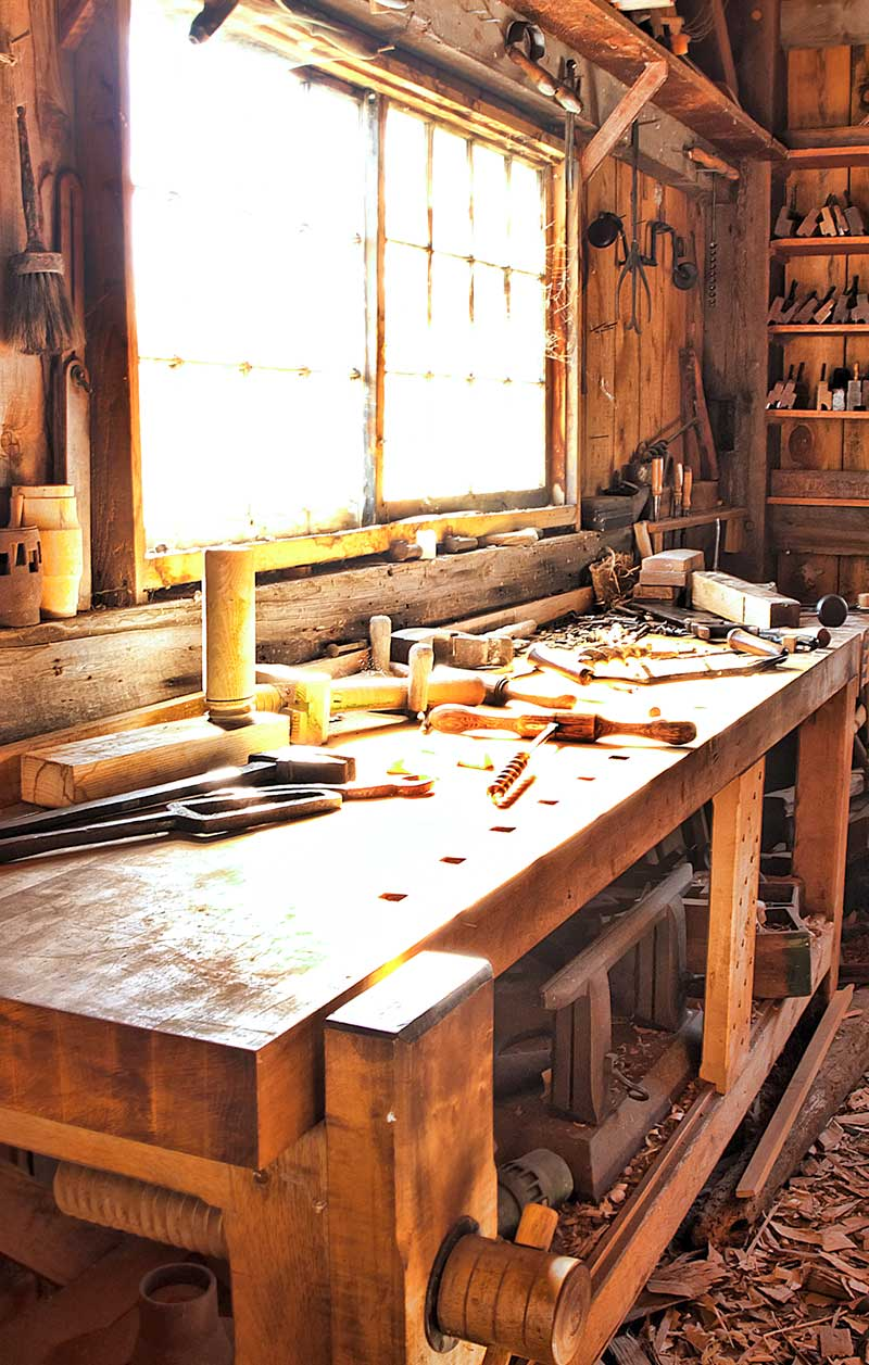 woodworking shop and tools
