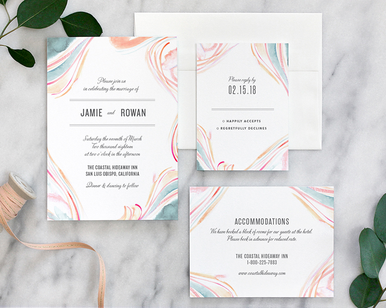 Marble Watercolor Wedding Invitations By Fine Day Press Austin Texas