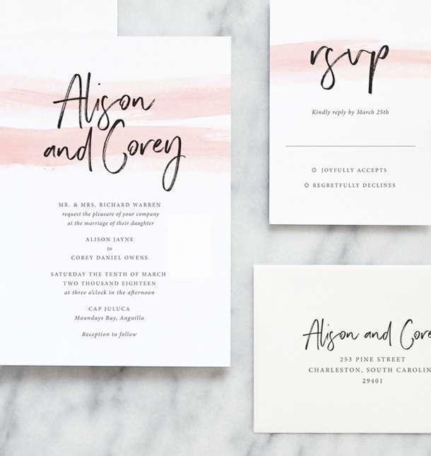Modern Wedding Invitations By Fine Day Press Austin