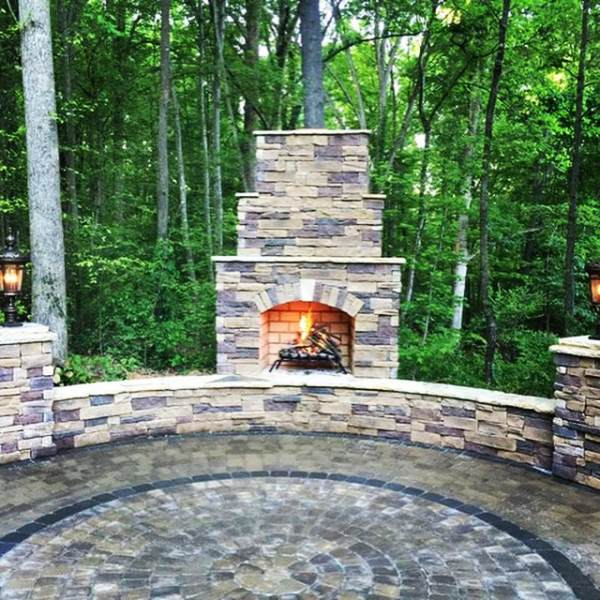 paver patio designs with fireplace Greater Charlotte Paver Patios - FINE EDGE LANDSCAPE DESIGN