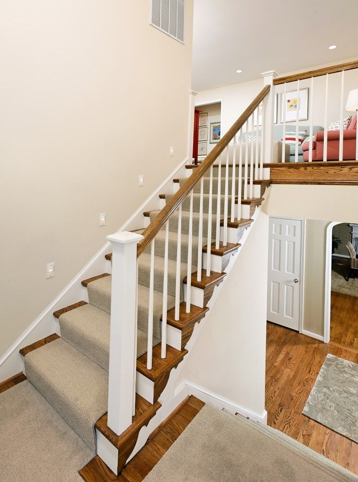 Carpet Cleaning Sunnyvale Ca Traditional Staircase And Banister   White Handrails For Stairs Interior   Indoor   House   Exterior   Spiral   White Metal