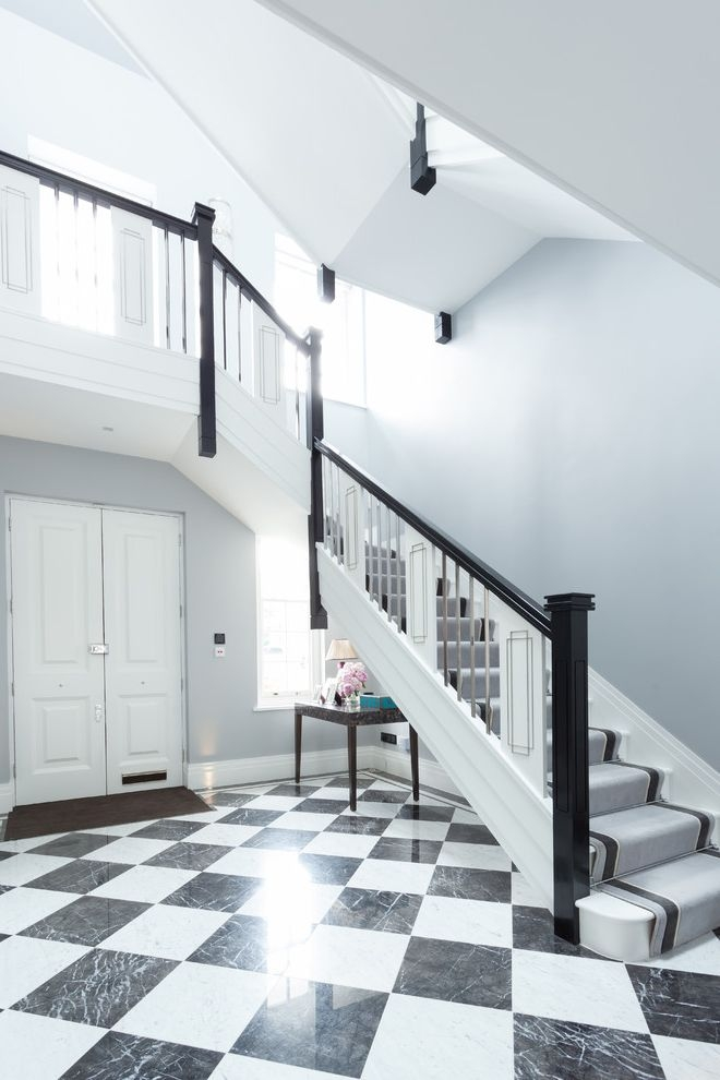 Carpets By Dennis Traditional Staircase And Black And White Black   White Stairs With Grey Carpet   Top   Laminate Flooring Carpet   White Staircase   Grey Stripe   Dark Grey