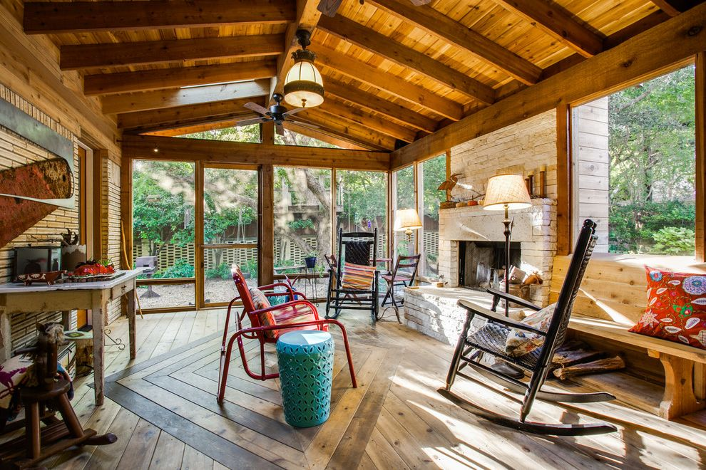 Dr Horton Dallas Rustic Porch Also Bench Seating Brick Fireplace Ceiling Fan Distressed Furniture Exposed Beams In Hardwood Flooring