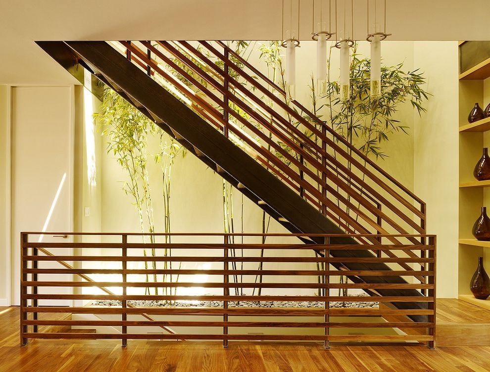 Horizontal Bookshelf Contemporary Staircase And Bamboo Beige Door   Horizontal Wood Stair Railing   Wrought Iron   Cherry Wood   Steampunk   Rustic   Wooden