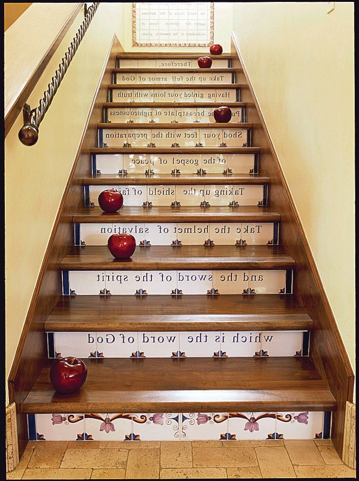 Love Is Patient Love Is Kind Bible Verse Mediterranean Staircase | Stairs Wall Tiles Design | Main Entrance Wall Tile | Exterior | Two Story House Stair | Wall Flat | Residential