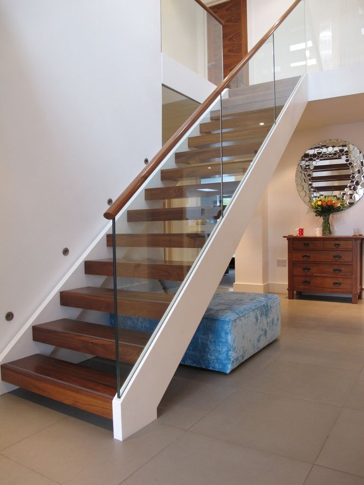 Thick Stair Treads With Contemporary Staircase And Black And | Glass Stair Treads Cost | Floating | Steel | Handrail | Hardwood | Wood
