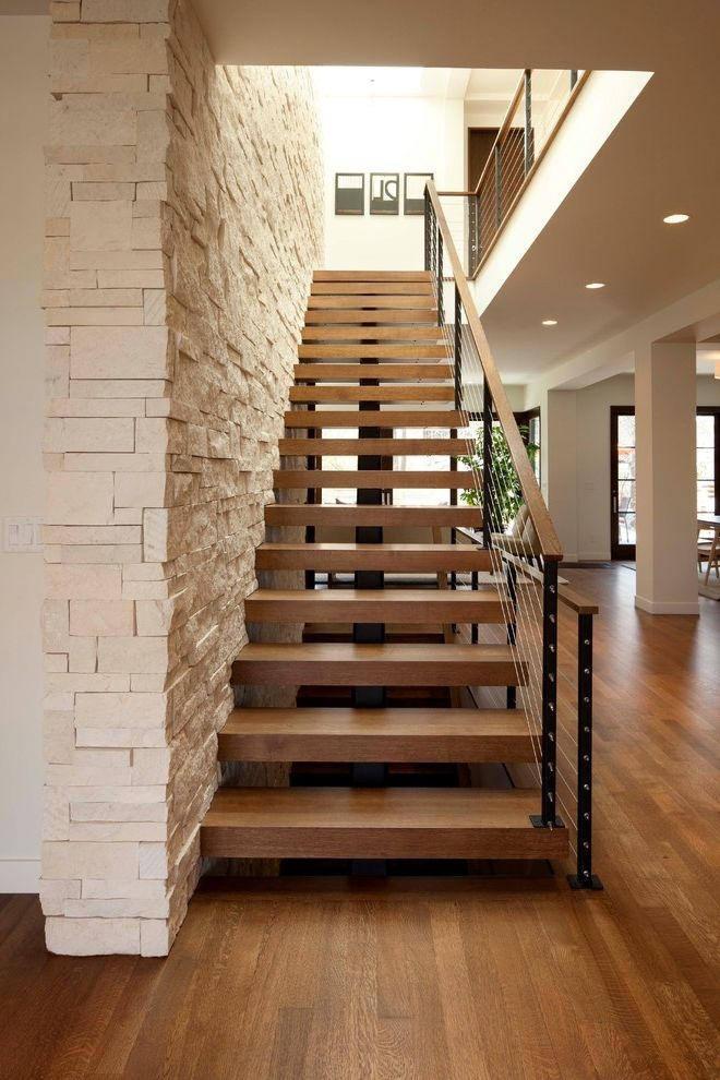 Thick Stair Treads With Modern Staircase And Cable Rail Modern   Modern Wood Stair Treads   Country Style   Box   Square Edge   Eased   Open Riser