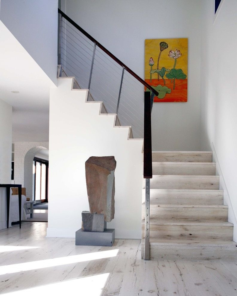White Wash Wood Floors Contemporary Staircase And Floral Painting | Knotty Pine Stair Railing | Tongue Groove | Antique Wooden Stair | Log | White | Newel Post