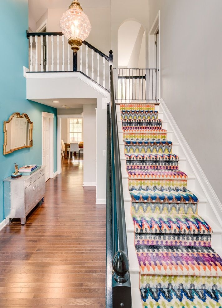Replacing Carpet On Stairs With Traditional Staircase And Colour | Multi Coloured Stair Carpet | American Style | Candy Stripe | Interior Design | Textured | Residence