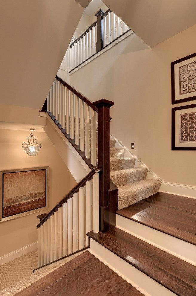 Replacing Carpet On Stairs With Traditional Staircase And Beige | Dark Wood Stairs With White Risers | Wall | Beautiful Wood | Wooden | Modern | Floor
