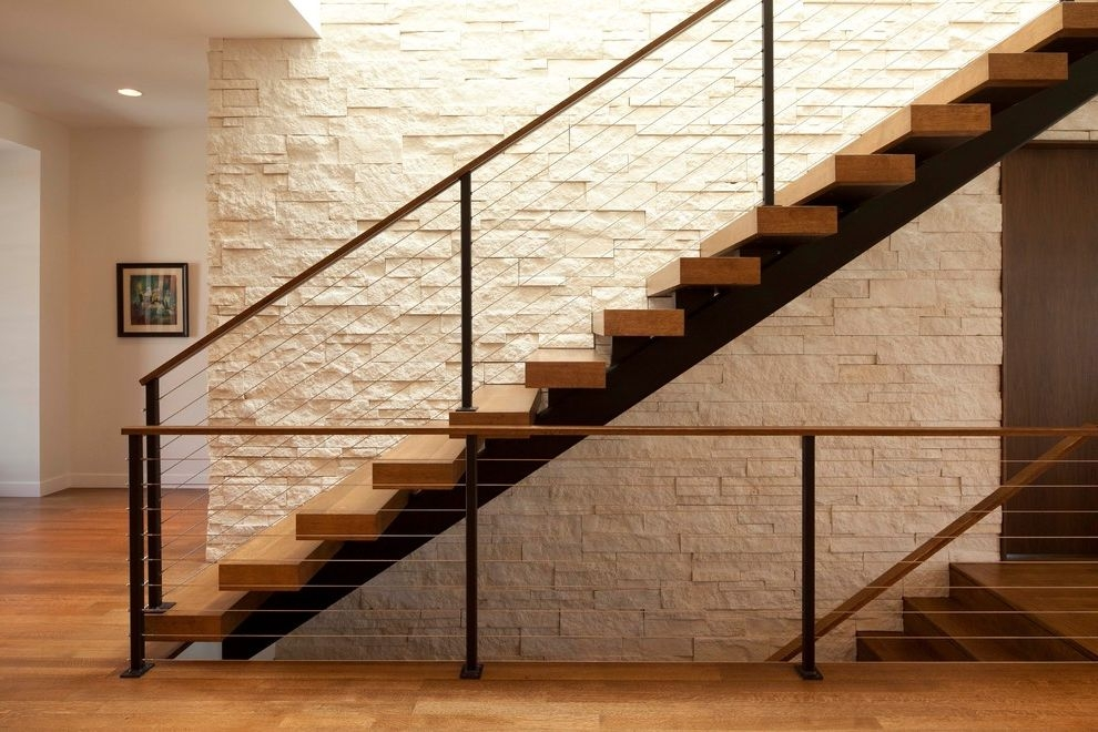 Floating Stairs Cost Modern Staircase And Cable Railing Floating | Stair Railing Wood And Steel | Tall Stair | Spiral Stair | Easy Stair | Office Interior Stair | Different Staircase