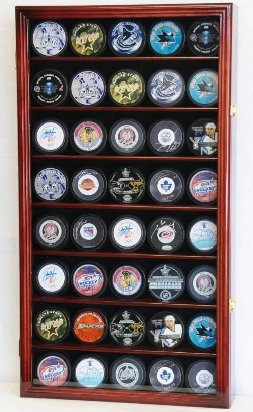 Display Case Hockey 40 Puck Hockey Memorabilia Displays