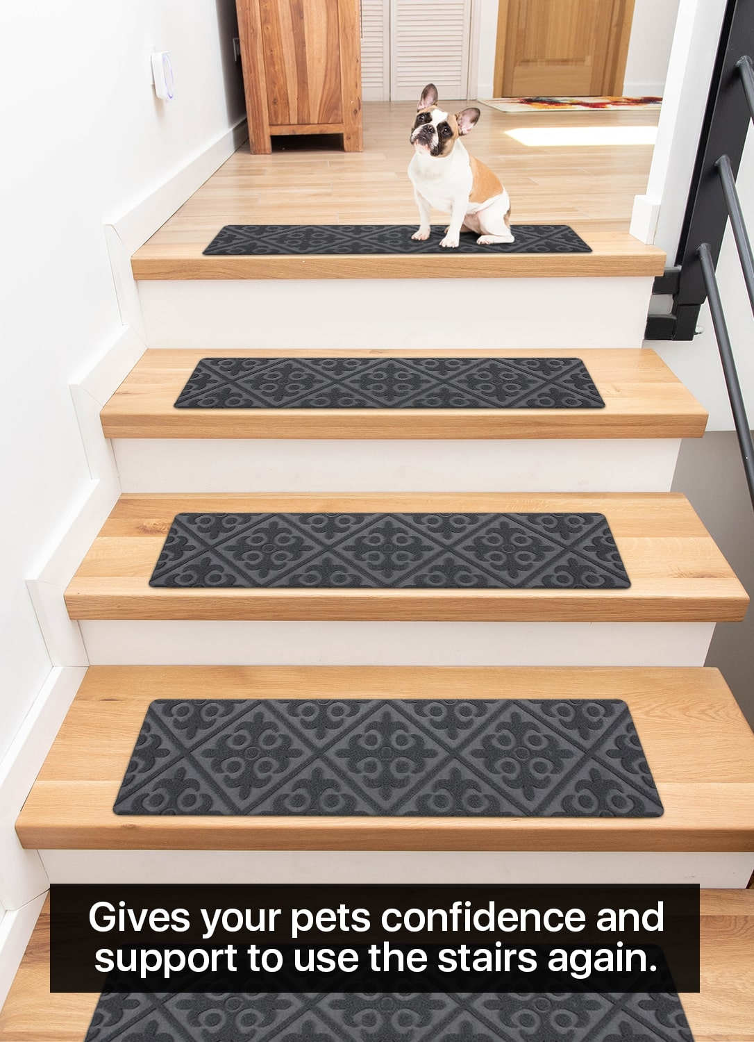 """Carpet Stair Treads Non Slip Gray Embossed – 8""""X30"""" 15 Pack 