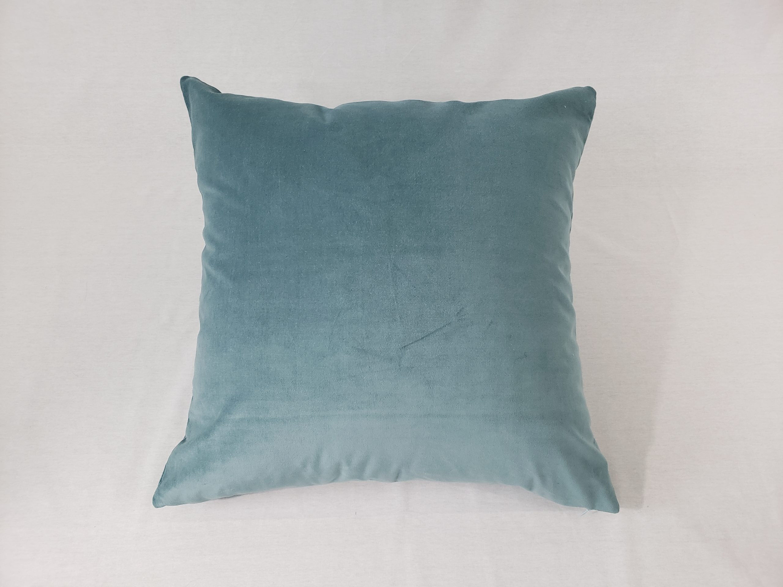 A seafoam green velvet cushion