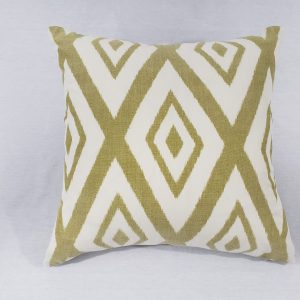 A green diamond geometric throw cushion