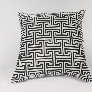 A trellis grey and white geometric cushion