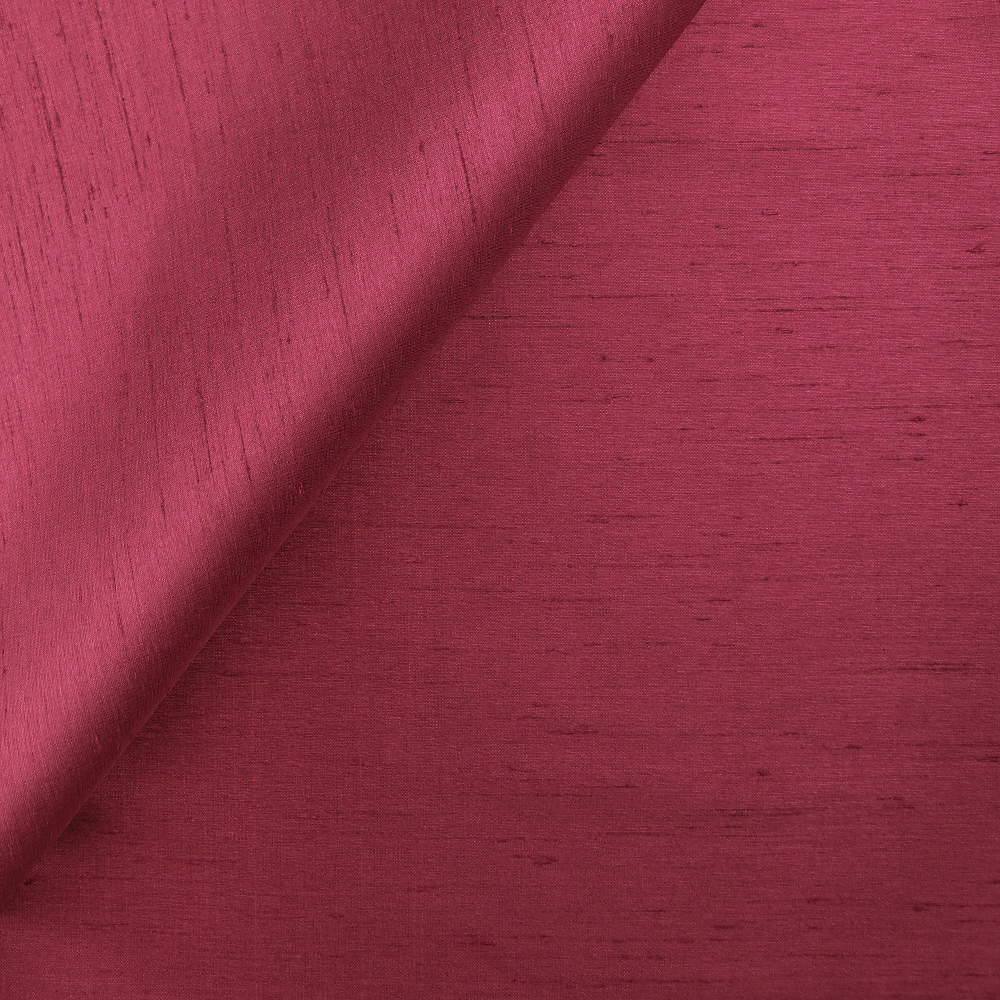 Fabric sample of faux silk fabric in color wine